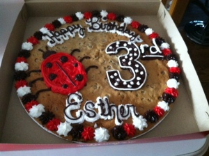 third birthday cookie